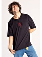 XHAN Siyah Gül İşlemeli Oversize T-Shirt  Siyah